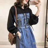 大碼女裝2020秋裝新款韓版寬鬆秋季衛衣裙假兩件牛仔洋裝拼接冬「時尚彩紅屋」