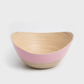WAGA 清新南洋 25cm手工竹弧形碗-嫩粉紅