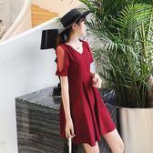洋裝 胖妹妹微胖mm遮肚子連身裙減齡藏肉顯瘦裙子631-552 巴黎春天