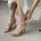網紅新款透明一字帶細高跟珍珠涼鞋女 夜店舞臺表演高跟鞋
