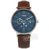 TIMEX 天美時 / TXTW2T35100 / 羅馬刻度 三眼設計 礦石強化玻璃 日期 星期視窗 真皮手錶 藍x咖啡 41mm