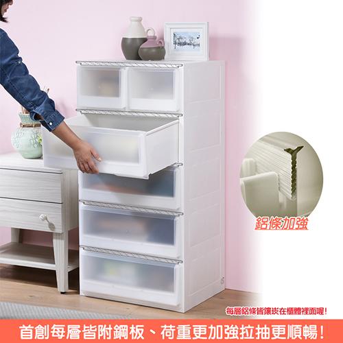 特惠-《真心良品x樹德》第二代加寬白色積木2+4抽收納櫃(173L)