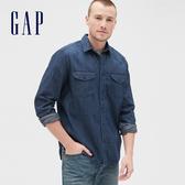 Gap男裝時尚雙翻袋長袖牛仔襯衫536741-深靛藍色