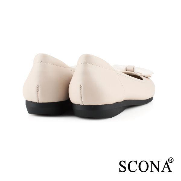 SCONA 全真皮 甜美舒適平底娃娃鞋 米色 22401-4