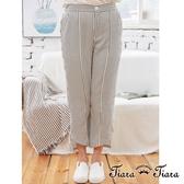 【Tiara Tiara】aw 格紋立體感長短版長褲(黑白格)