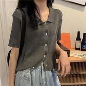 針織衫女微胖穿搭冰絲開衫短袖T恤短款【聚物優品】