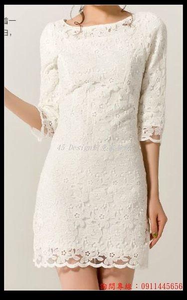 (45 Design) 訂做款式7天到貨    蕾絲伴娘服中袖短款 姐妹裙禮服修身 新娘結婚敬酒晚禮服