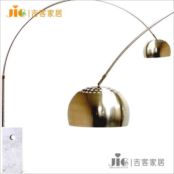[吉客家居] 落地燈 - 義大利設計 Arco 大理石 鍍鉻燈罩 拋物線釣魚燈 (方管) (可伸縮) 經典設計款
