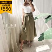 PUFII-套裝 簡約字母背心+不規則斜紋布中長裙兩件式套裝 2色-0719 現+預 夏【ZP14976】