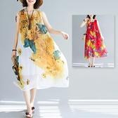 中大尺碼 無袖洋裝 波西米亞時尚微胖mm顯瘦海邊度假裙紅色三亞沙灘裙夏季無袖連身裙