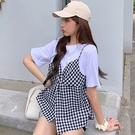 VK精品服飾 韓國風拼接格紋吊帶假兩件短袖上衣
