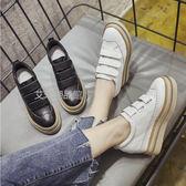 魔術貼內增高小白鞋女真皮單鞋松糕厚底休閒鞋8cm