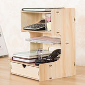 木質路由器電話桌面收納架大號辦公室抽屜式文件夾資料書本置物架YS