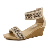 羅馬涼鞋 涼鞋女坡跟新款民族風串珠波西米亞涼鞋中跟防滑牛筋底后拉鏈