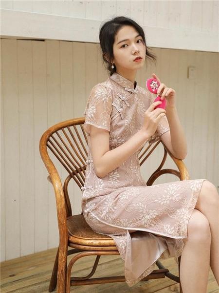 旗袍 維多利亞法式 連衣裙 復古 少女 中國風 新式旗袍裙 小眾 連衣裙 夏