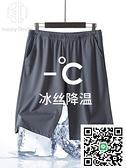 2條睡褲男夏天薄款冰絲居家短褲超薄絲綢寬鬆家居褲加肥加大褲衩【happybee】