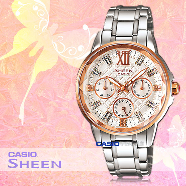 CASIO 卡西歐 手錶專賣店 SHE-3029SG-7A 女錶 不鏽鋼指針錶帶  三眼 防水 全新品 保固一年