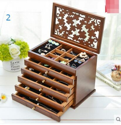 實木質首飾盒化妝盒首飾收納盒飾品盒公主桌面手飾收納盒小化妝盒