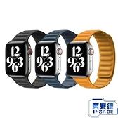 皮革鏈式iwatch表帶蘋果手表皮帶個性潮磁吸替換錶帶【英賽德3C數碼館】