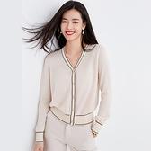 開衫上衣 2020春季女裝新款上衣撞色短外套女薄V領毛衣寬松小香風針織開衫