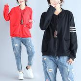外套【K57】FEELNET中大尺碼女裝2018秋裝韓版文藝休閒開衫寬鬆長袖外套 L~XL