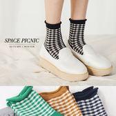 襪子 Space Picnic|預購.格紋卷邊彈性休閒短襪【C18012000】