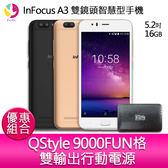InFocus A3 雙鏡頭智慧型手機『贈QStyle 9000FUN格雙輸出行動電源』