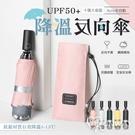 【現貨】鈦銀降溫 十骨 抗強風 加大傘面 防紫外線 UPF50+ 三折 防反彈 收納 自動 反向傘 晴雨傘