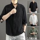 棉麻T恤亞麻襯衫男短袖襯衣寬松男裝中國風夏季棉麻男士休閒外套長袖上衣 快速出貨