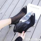 網紗涼鞋女細跟短靴夏高跟尖頭鏤空仙女鞋時尚性感單靴秋涼靴【快速出貨】