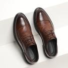 皮鞋 西裝皮鞋男夏季棕色韓版英倫休閒薄款透氣商務正裝真皮結婚新郎鞋