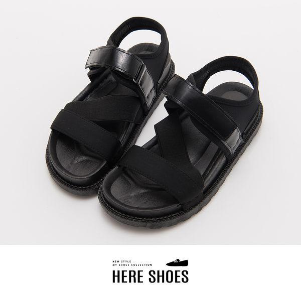 [Here Shoes]涼拖鞋-韓版街頭風皮革厚底魔鬼氈穿脫一字涼鞋─ANB-2