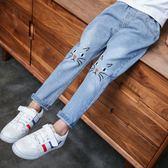 女童牛仔褲2018春季新款兒童褲子春秋寬鬆