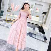 連衣裙女夏2018新款韓版氣質一字領喇叭袖收腰顯瘦蕾絲大擺中長裙