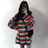 快時尚女裝~韓國寬鬆中長款T恤百搭套頭學生條紋上衣