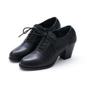MICHELLE PARK 文青品味 雕花點點高跟牛津鞋-黑