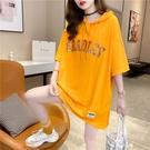 長版 短袖 2021夏季新款大碼女裝寬松中長款亮片字母短袖t恤女士連帽衛衣潮