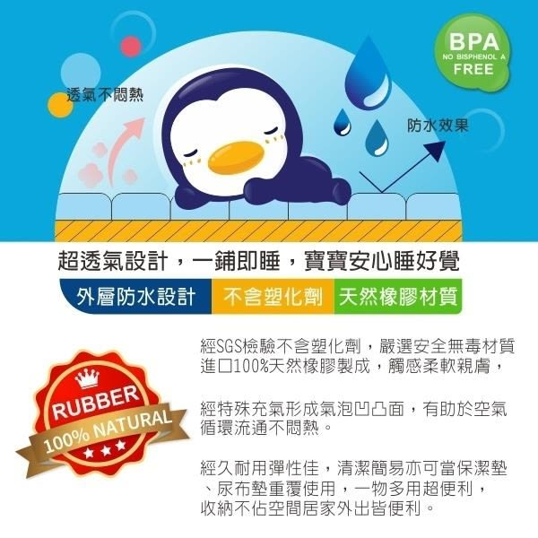 PUKU 藍色企鵝 超透氣排汗橡膠床墊60*90cm