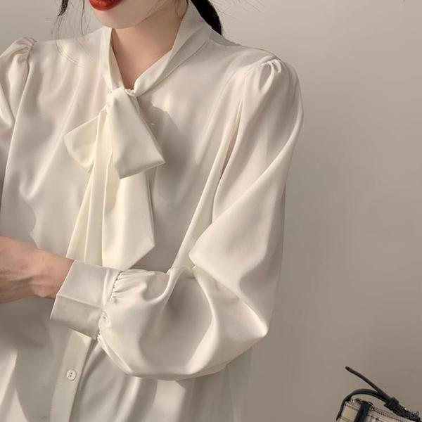 雪紡襯衫女長袖春秋上衣蝴蝶結職業氣質襯衣系帶【毒家貨源】