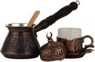 DEMMEX 【美國代購】土耳其希臘咖啡套組 雕刻銅鍋 6件組 - 古銅