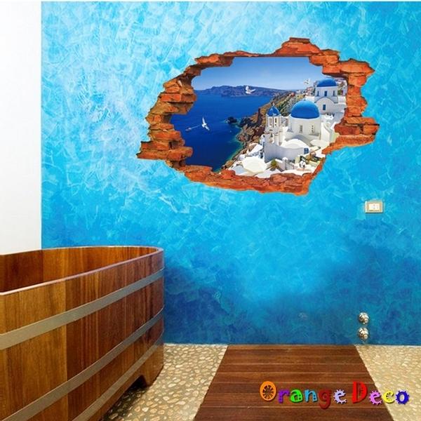 壁貼【橘果設計】窗外愛琴海 DIY組合壁貼 牆貼 壁紙 壁貼 室內設計 裝潢 壁貼