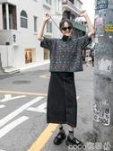 牛仔半身裙設計師黑色高腰牛仔半身裙中長款女a字長裙裙子新款秋冬春季特賣