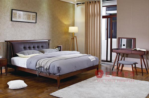 [紅蘋果傢俱] C-006 北歐床台 六尺床 日式床架 白蠟木床台 全實木 床頭櫃