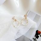 【NiNi Me】夾式耳環 氣質優雅愛心圓圈珍珠耳針耳環 夾式耳環 E0251
