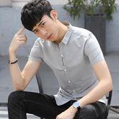 短袖襯衫男士正韓修身百搭潮流刺繡薄款青年學生帥氣休閒襯衣