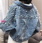 YoYo 珍珠牛仔外套女 寬鬆釘珠短款牛子上衣(S-XL)S1014