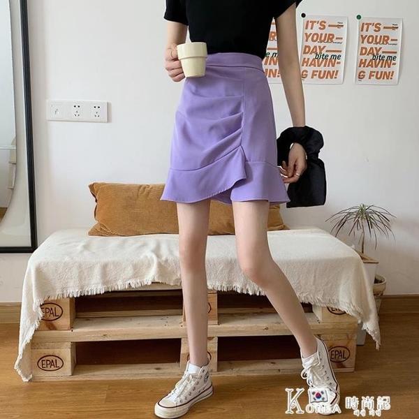 魚尾裙-2021夏季新款女裝不規則魚尾半身裙高腰顯瘦A字包臀裙黑色短裙子