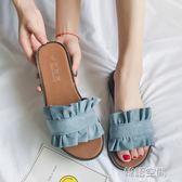 蝴蝶結拖鞋女夏2018新款時尚一字拖軟底外穿懶人平底孕婦涼拖鞋子   韓語空間