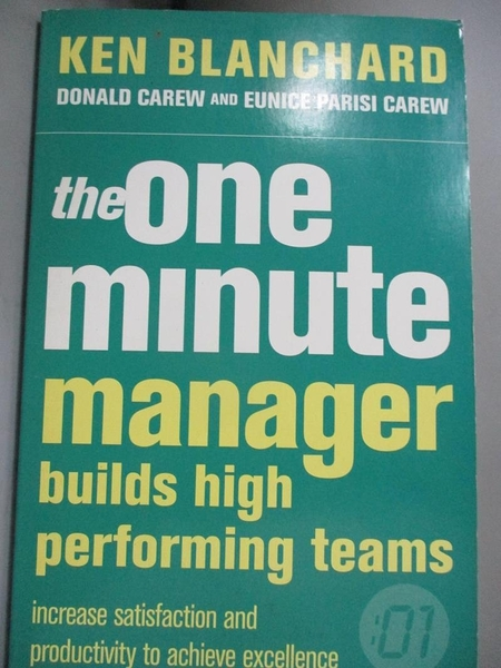 【書寶二手書T1/財經企管_KHV】The One Minute Manager Builds High Performance…
