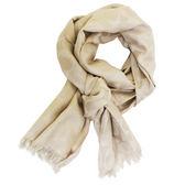 【COACH】經典COACH CC LOGO 羊毛混蠶絲絲光流蘇圍巾(香檳金)